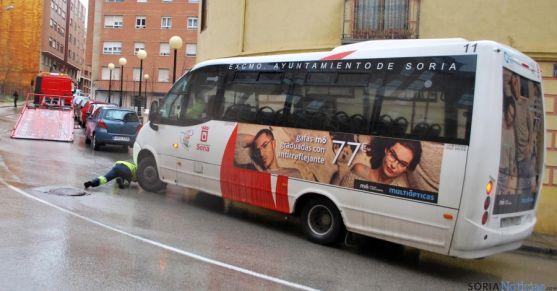 Un autobús averiado a prinicipios de este mes./SN