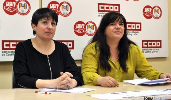 Ana Romero, de CCOO (izda.) y Azucena Pérez, de UGT. / SN