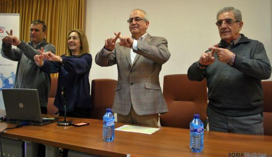 Ballano, (izda.), Casado, Fernández y Ligero este martes en la sede de Cruz Roja Soria. / SN
