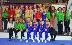 Las gimnastas sorianas en Valladolid.