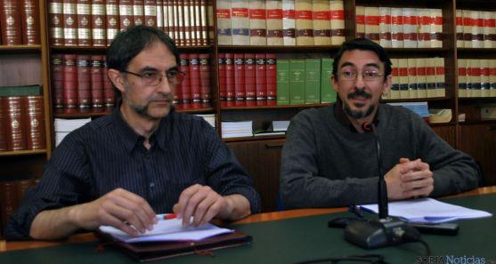 Agustín Calvo y Juan Alberto Romero, de Sorian@s, este jueves. / SN