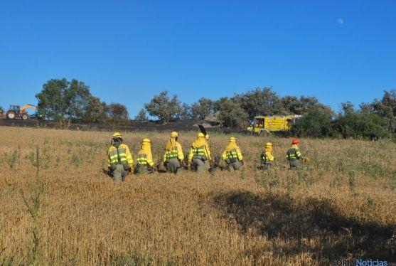Grupo de personal anti-incendios en un siniestro en Golmayo./SN
