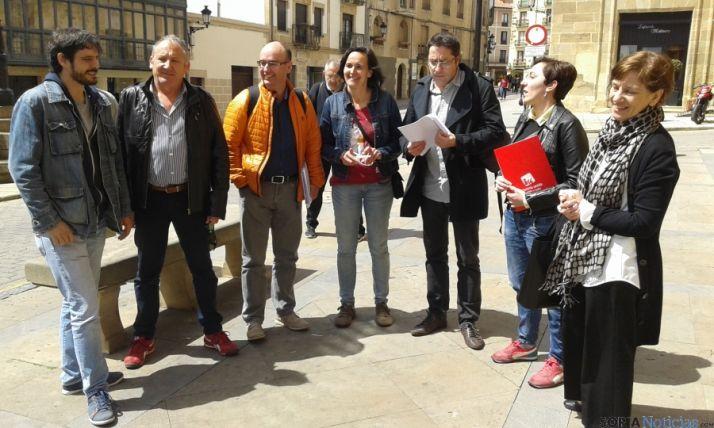 Miembros de la candidatura conjunta, hoy en Soria.