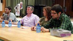 Romero (ctro.) con los candidatos de Unidos Podemos.
