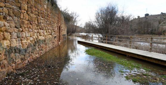 Imagen de las inundaciones del río este invierno en la capital soriana. / SN