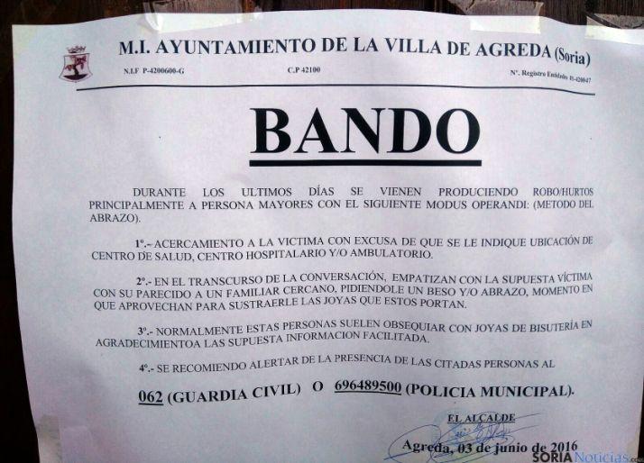 El bando del Ayuntamiento agredeño./SN