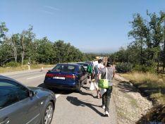 Fila de vehículos para acceder a Valonsadero. /SN