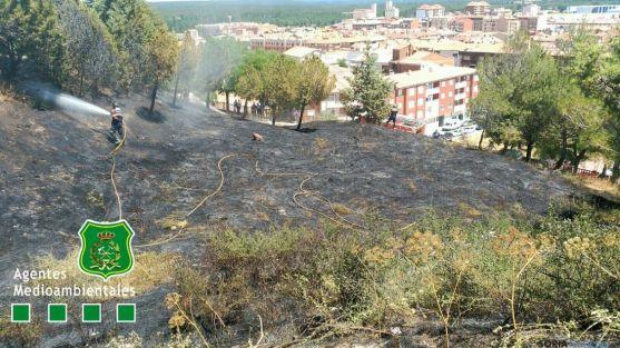 El terreno quemado este martes.