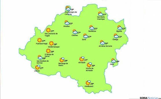 Mapa para esta tarde./eltiempo.es
