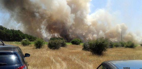 Imágenes del amplio frente del incendio./SN