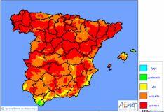 Los niveles de riesgo de incendios./AEMET