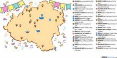 Mapa de la provincia con las fiestas de este mes de agosto.