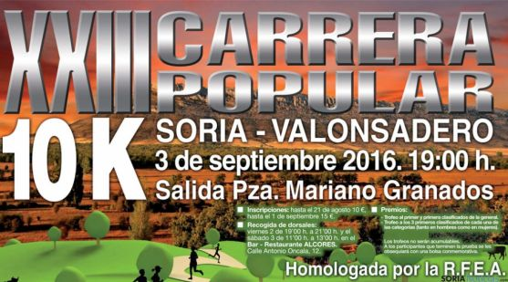 Cartel de la XXIII Carrera popular 10K Soria-Valonsadero.