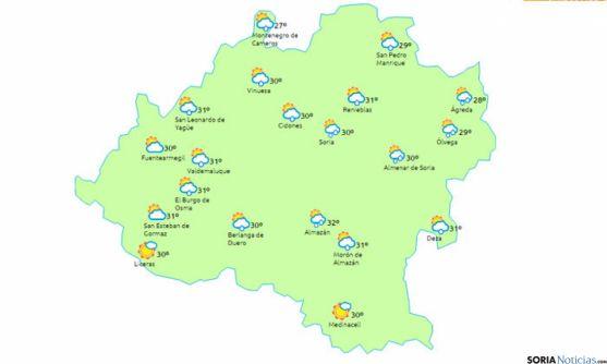 Nubes y precipitaciones aisladas. / www.eltiempo.es.