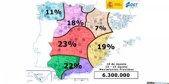 Mapa de la distribución de los desplazamientos por zonas.