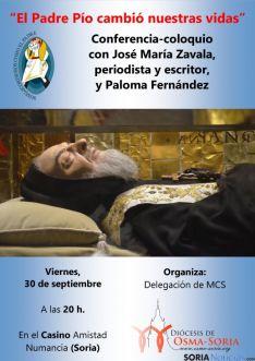Cartel de la charla 'El Padre Pío cambió nuestras vidas'.