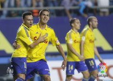 Los jugadores amarillos celebran el gol in extremis. LFP