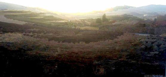 Imagen del terreno quemado en Beratón./SN