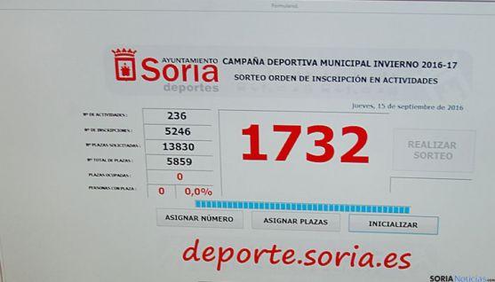 Asignación automática de plazas realizada por el Ayuntamiento de Soria.
