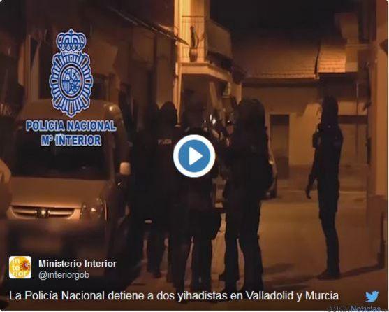 Momento de la detención del yihadista en Valladolid. PN