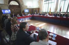 Una imagen de la sesión celebrada este viernes en Los Condes de Gómara. / SN