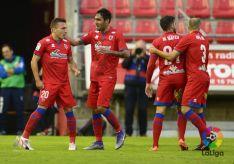 Los rojillos celebran el primer gol. /Laliga