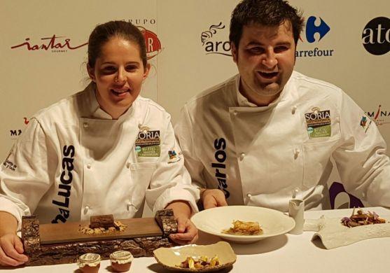 Elena Lucas y Juan Carlos Benito este martes en el Soria Gastronómica./SN
