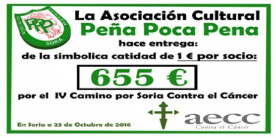 Cheque que será entregado a la AECC en Soria. /PPP