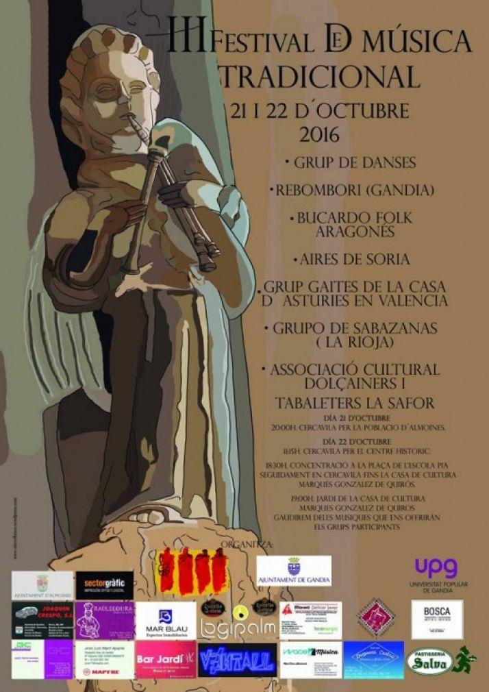 Cartel del III Festival de Música Tradicional de Gandía.