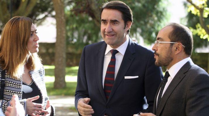 Suárez-Quiñones con Barcones y Rey este viernes en Soria. / SN