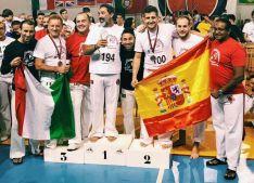 Garijo, en el podio con la bandera española.