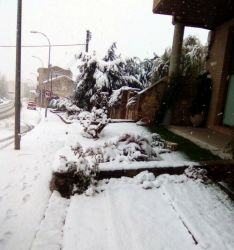 Imagen de la nieve en la carretera de Soria en Ágreda./SN