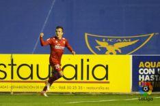Pablo celebra el gol que abría el partido. LFP