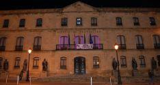 Así lucía el Palacio Provincial esta noche víspera de la jornada contra la violecia hacia las mujeres. / Dip.