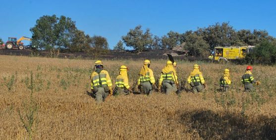 Personal anti incendios en un fuego en Golmayo. / SN