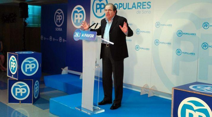 Herrera en un acto electoral en Soria este junio. / SN
