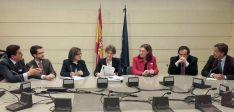 Martínez Izquierdo, (izda.), Cabezón, Angulo, García, Heredia, Lucas y Martínez hoy en el Senado.