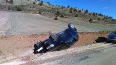 Aparatoso accidente en la carretera de Ciria.