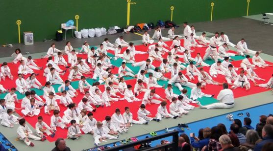 Imagen del pabellón con los judokas.