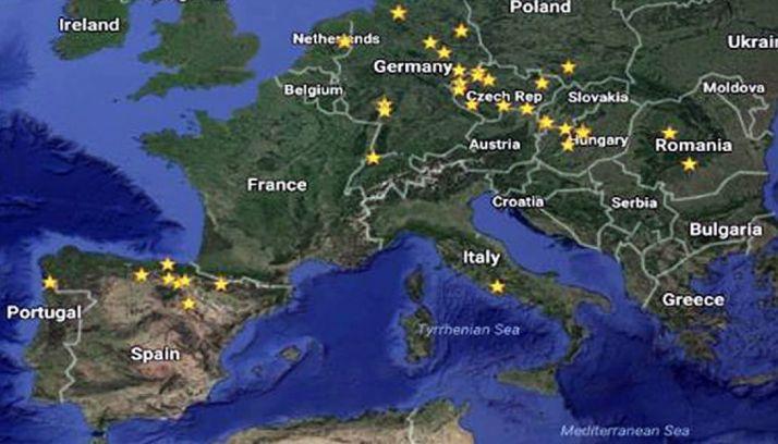 Mapa con los 'puntos calientes' de lindano en Europa.