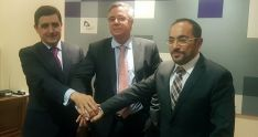 Martínez , Tarragó y Rey, tras la rueda de prensa en Diputación.