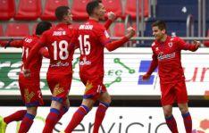 El Numancia celebra el primer gol. /LaLiga.