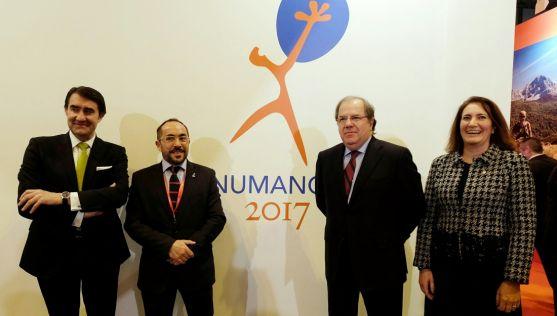 Suárez-Quiñones (izda.), Rey, Herrera y García-Cirac este viernes en Fitur. /Jta.