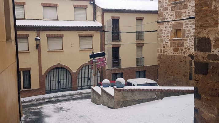 Imagen de la nevada este viernes en Ágreda./SN