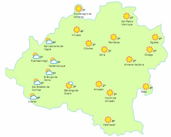 El tiempo en Soria para este sábado. /eltiempo.es