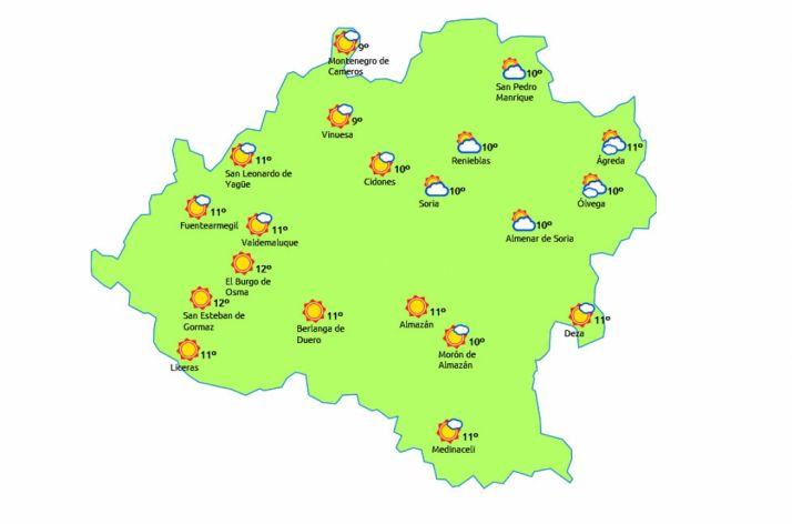 Mapa previsto para hoy jueves./eltiempo.es