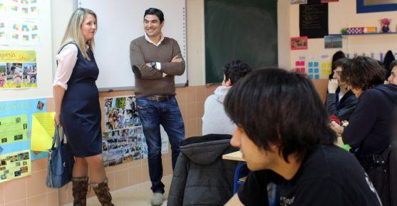 Govorova, con Abellón, este martes en el colegio.