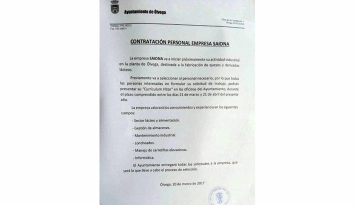El anuncio del Ayuntamiento olvegueño. /SN