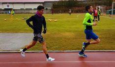 Mateo (dcha.) y Bascuñana entrenando.