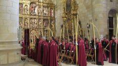 El obispo, en la bendicion de palmas y ramos en la Concatedral. /SN